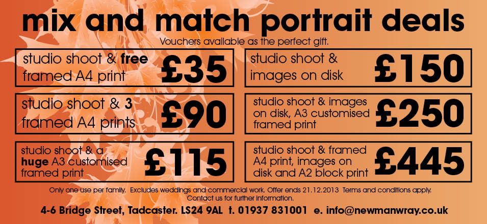Portrait Photography Price and Packages for Autumn 2013